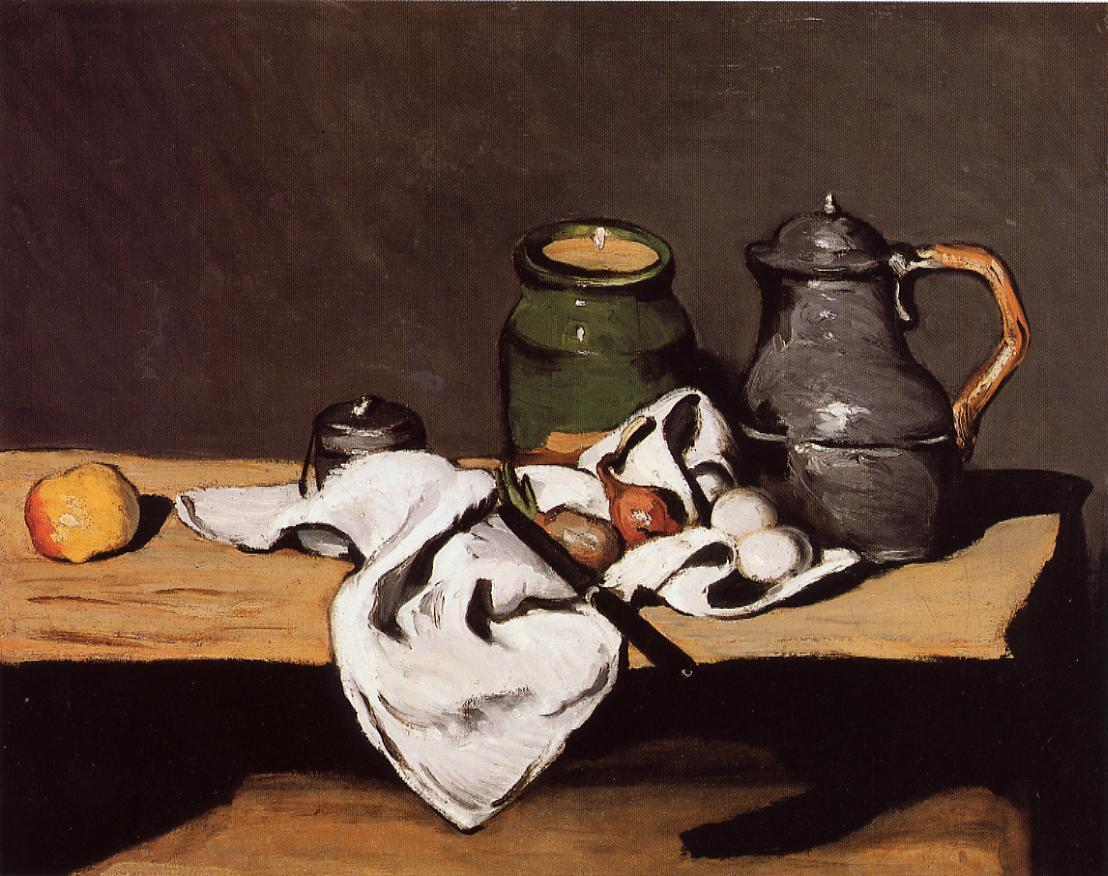 Still life with green pot and pewter jug 1870