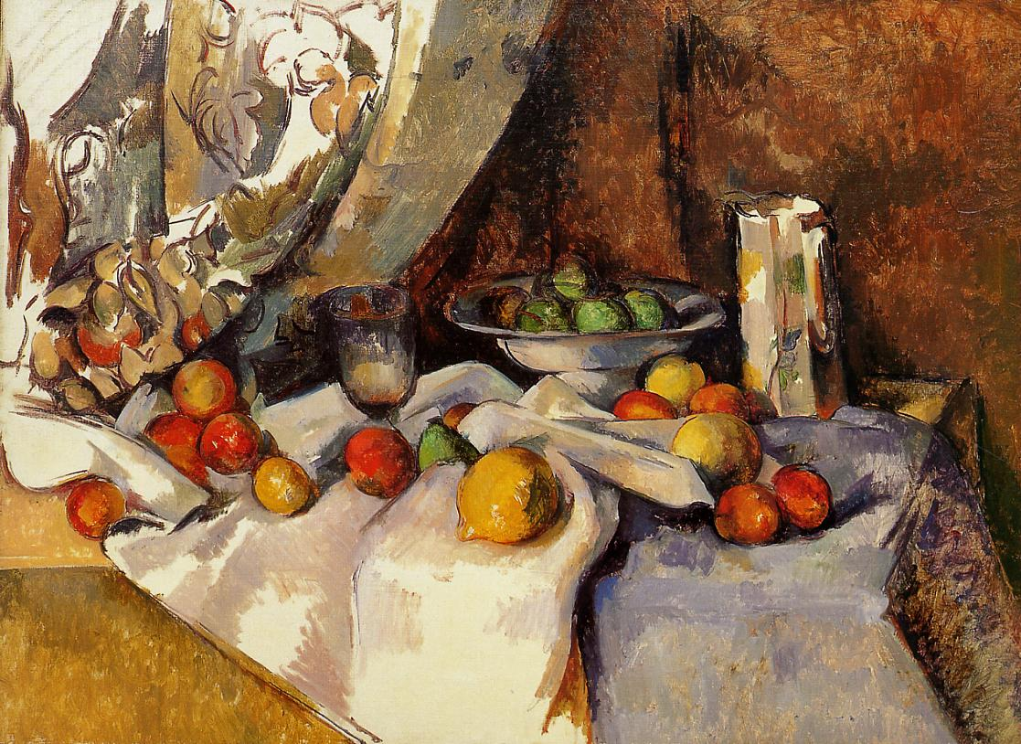 Still Life post bottle cup and fruit 1871