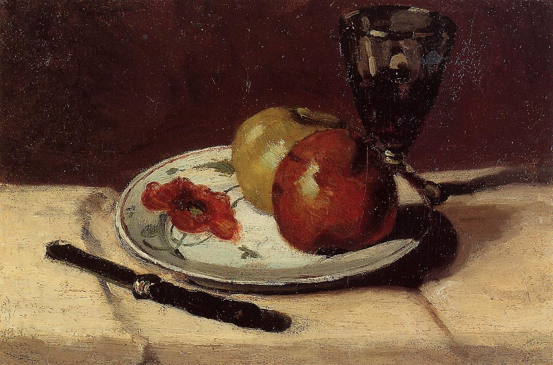 Still Life apples and a glass 1873