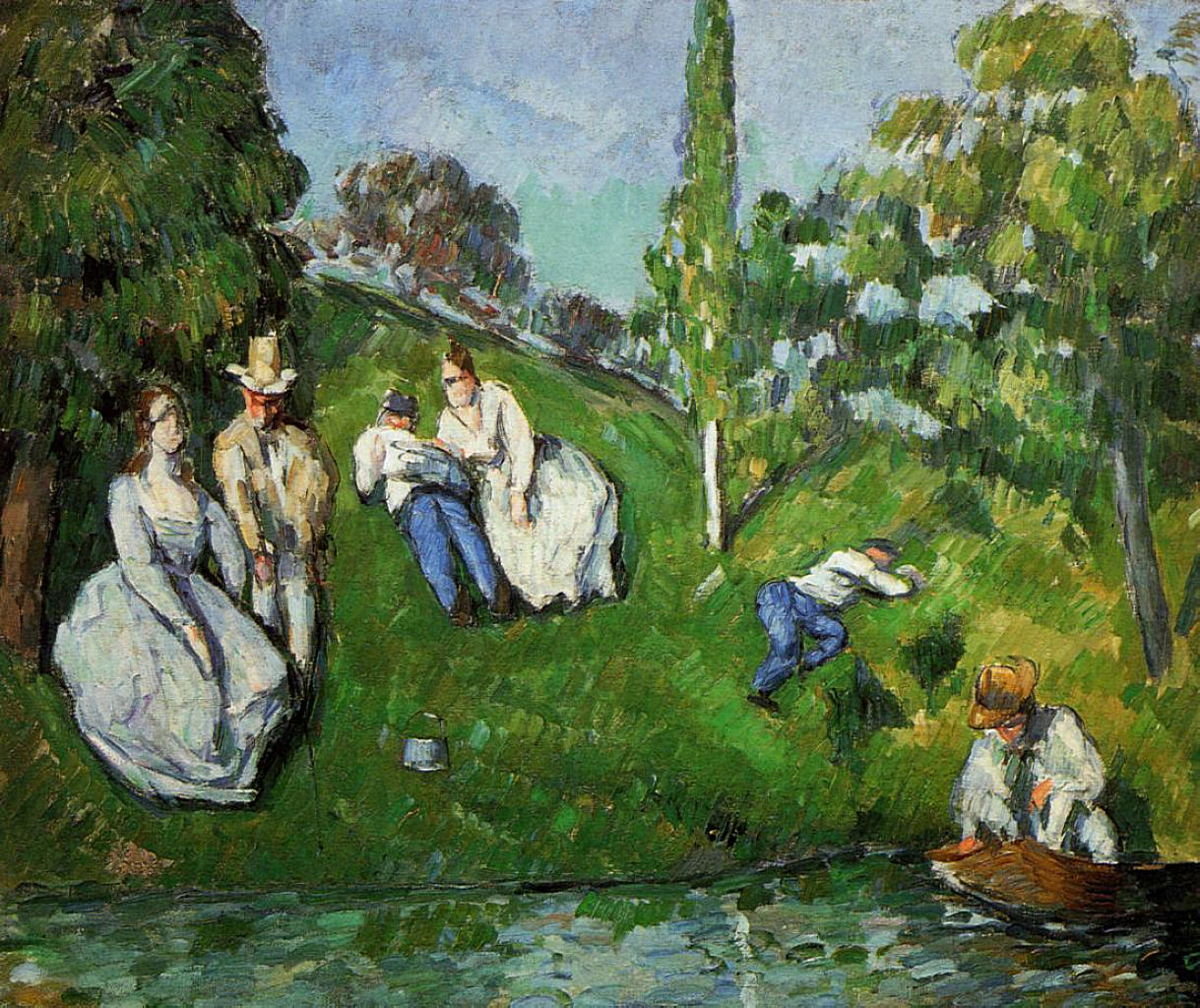 Couples relaxing by a pond 1875