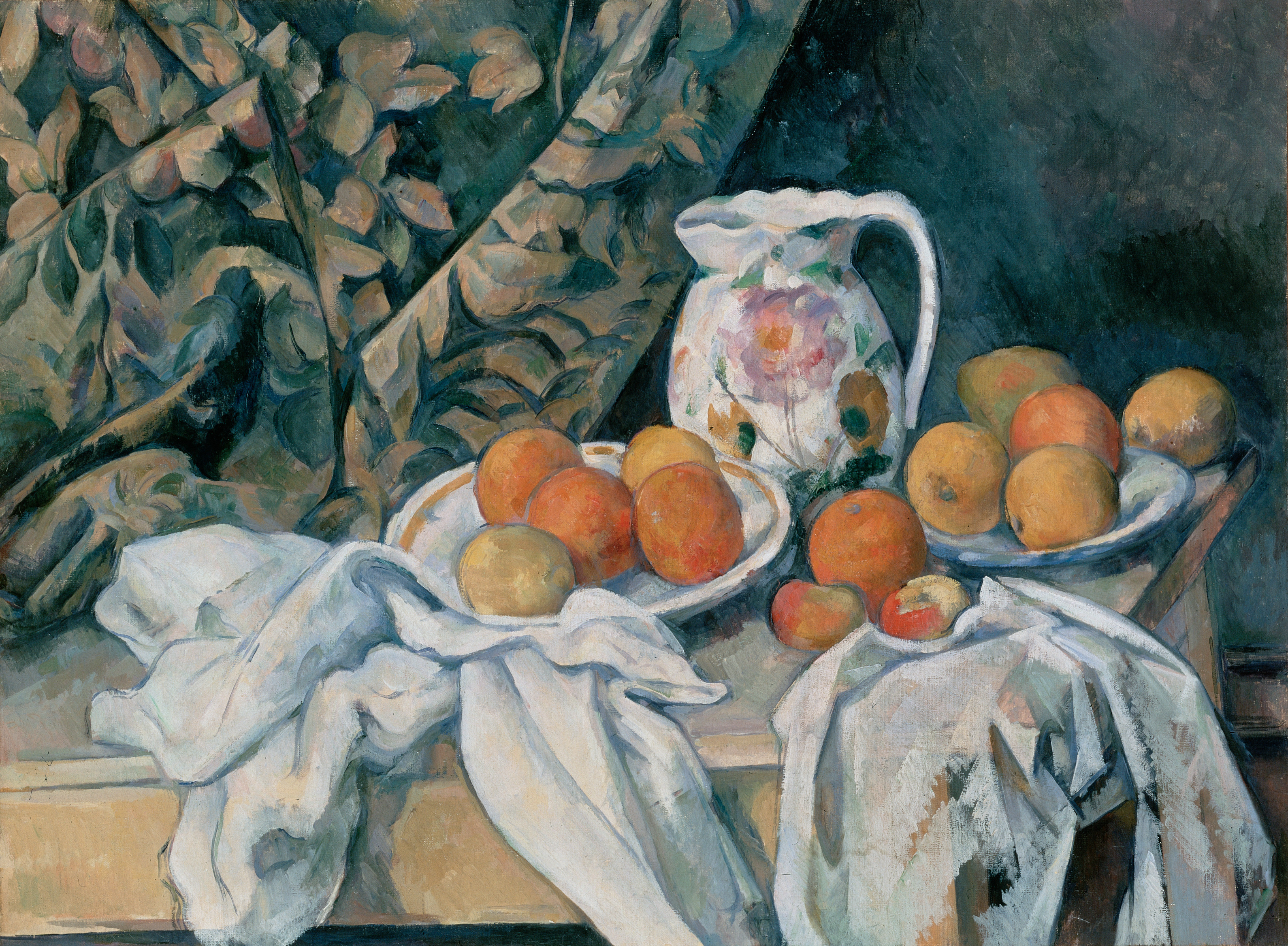 Still life with curtain and flowered pitcher 1895