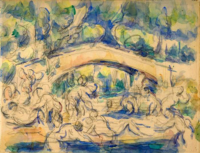 Bathers by a bridge 1900-1906