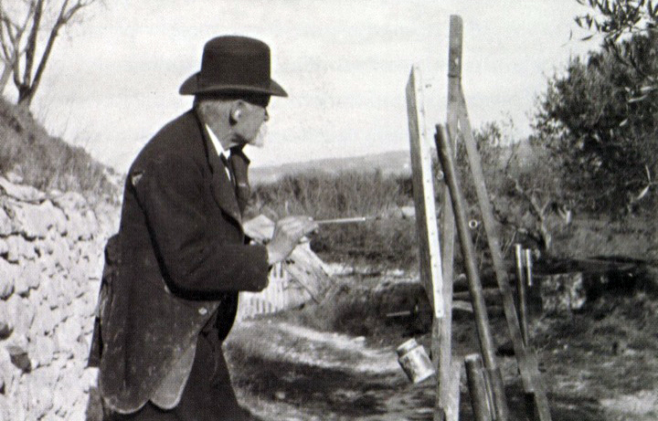 Paul Cezanne painting, Photograph by Ker-Xavier Roussel 1906